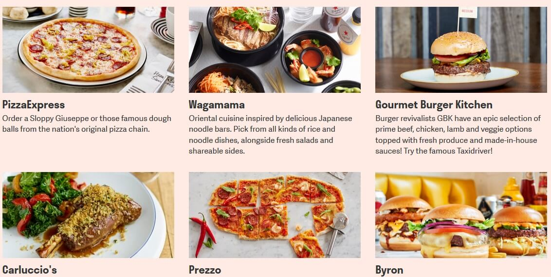 Some choices on Deliveroo's site.