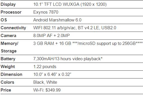 "Galaxy Tab A 10.1"": Specs"