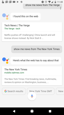 How the Google Assistant on the Google Pixel handles requests for news from specific outlets.
