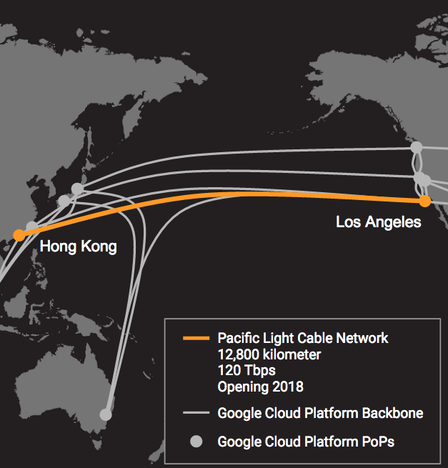 A map showing the Pacific Light Cable Network (PLCN) and Google Cloud Platform network infrastructure.