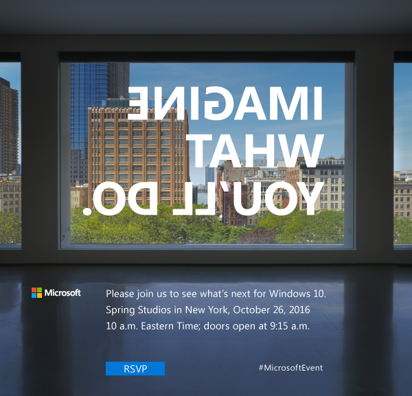 The invitation to Microsoft's October 26, 2016, event in New York.