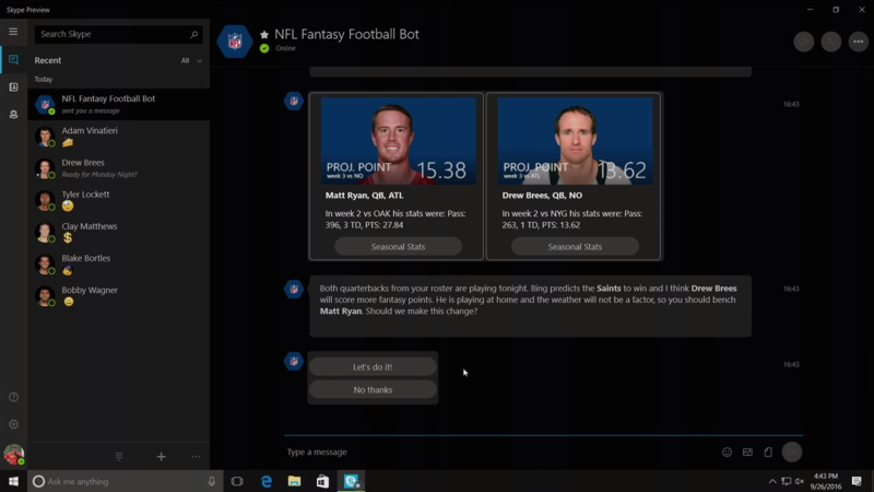 NFL Fantasy Bot Skype 3