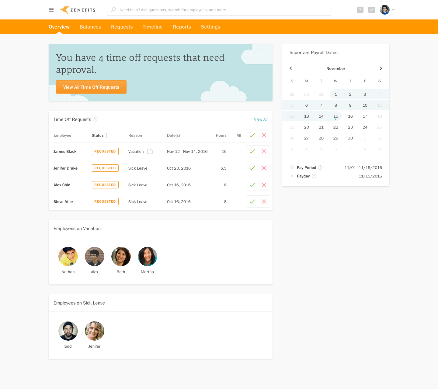 Zenefits Payroll dashboard showing time off for an employee.