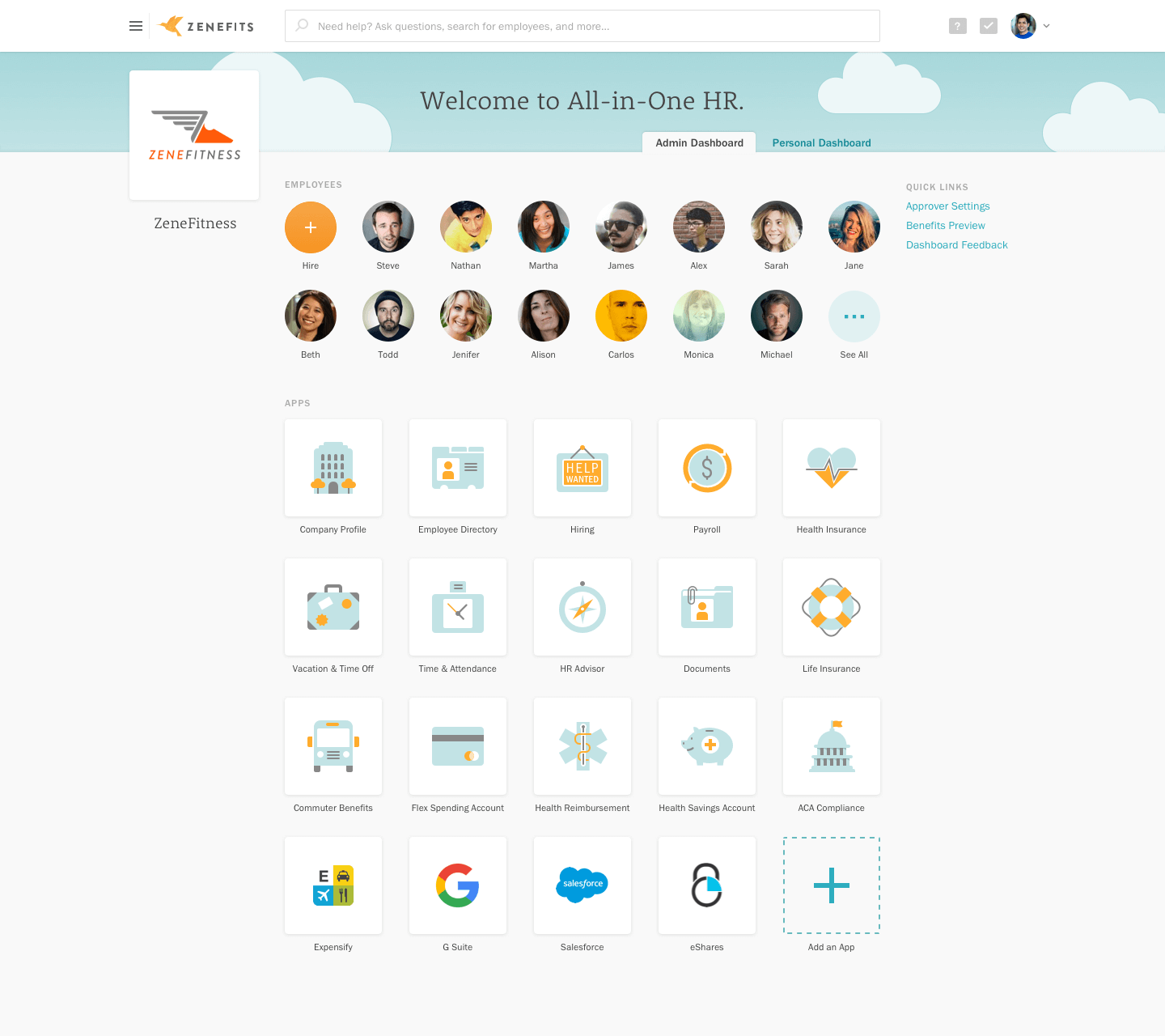 Dashboard in Zenefits' Z2 app marketplace, showing installed integrations and employee profiles.