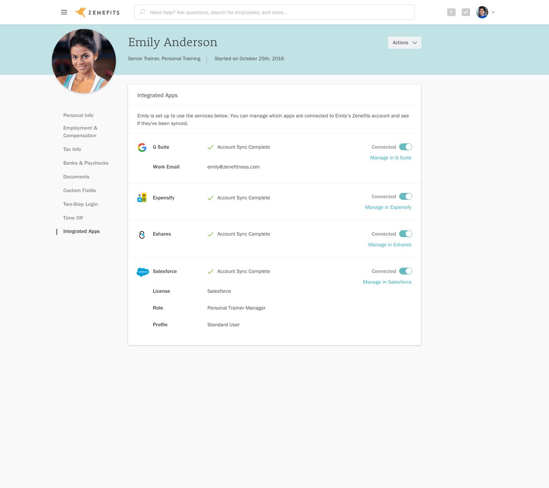 Zenefits' Z2 platform shows currently installed apps.