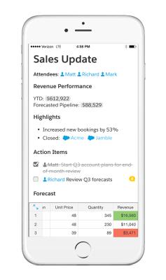 Using Salesforce live data in Quip.