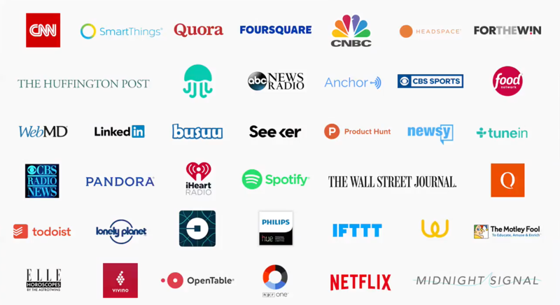 Screenshot of initial partners with plans to make Google Assistant integrations