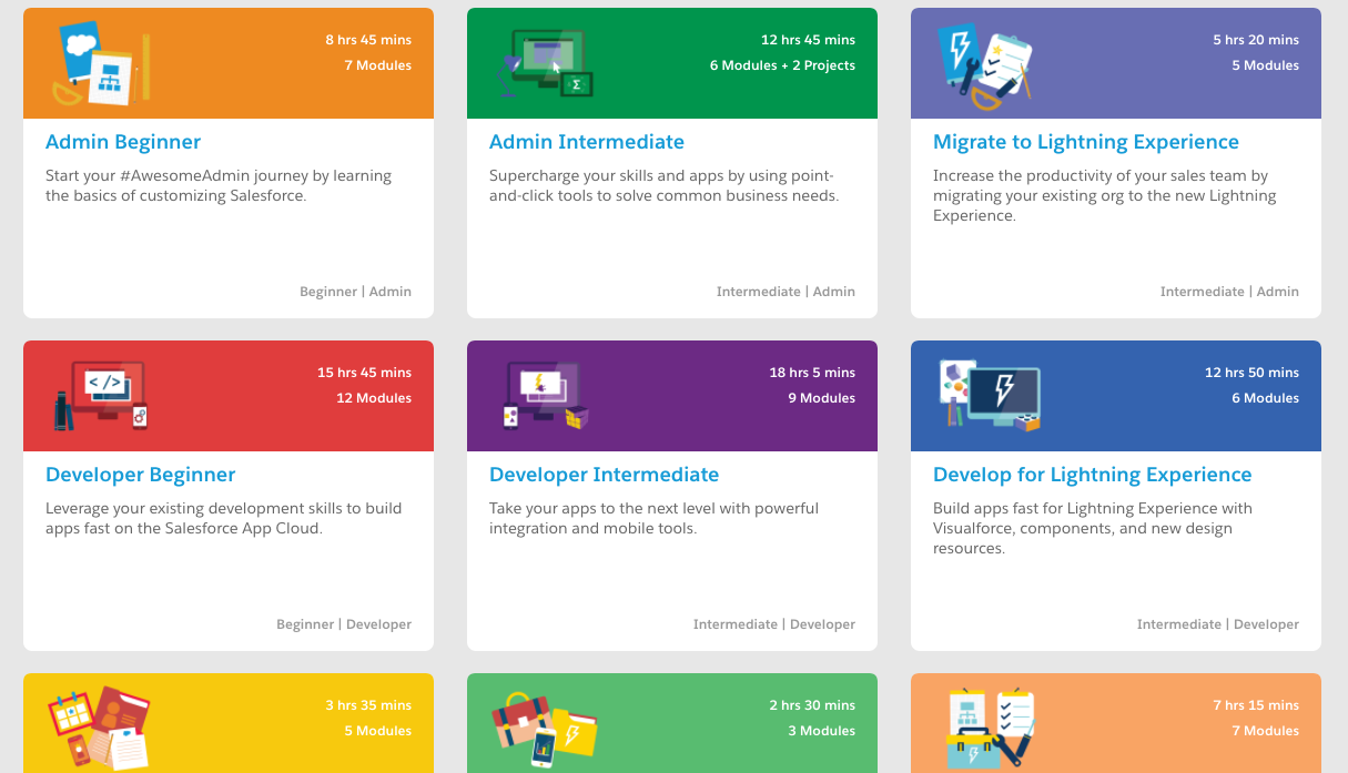 Examples of Trailhead courses.