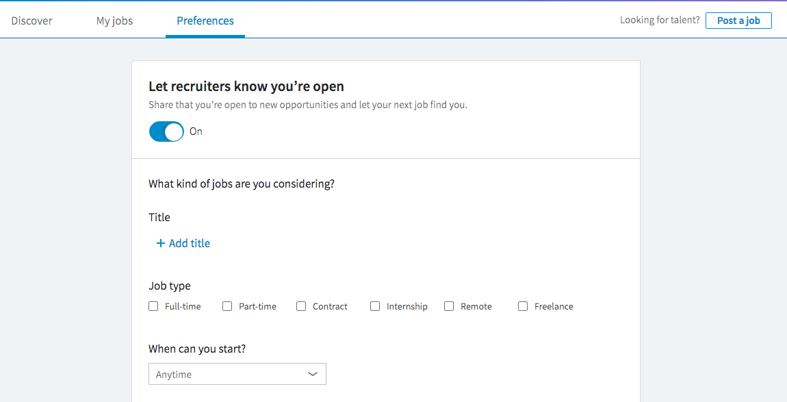 LinkedIn's Open Candidate setting