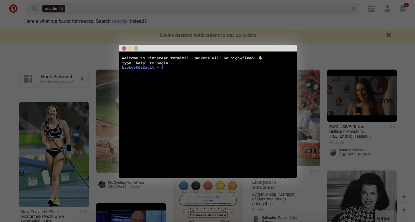 Screenshot of the Hack Pinterest game.