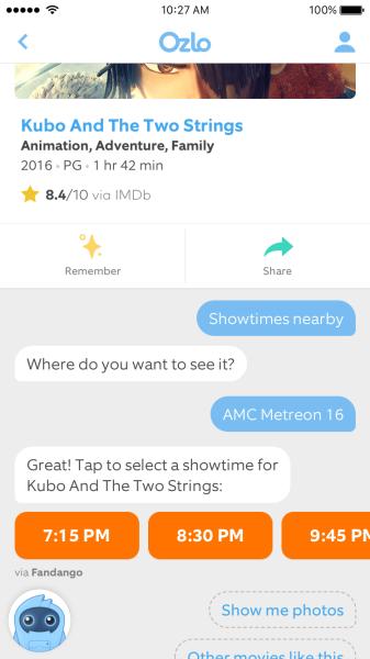 Ozlo app displays movie showtimes