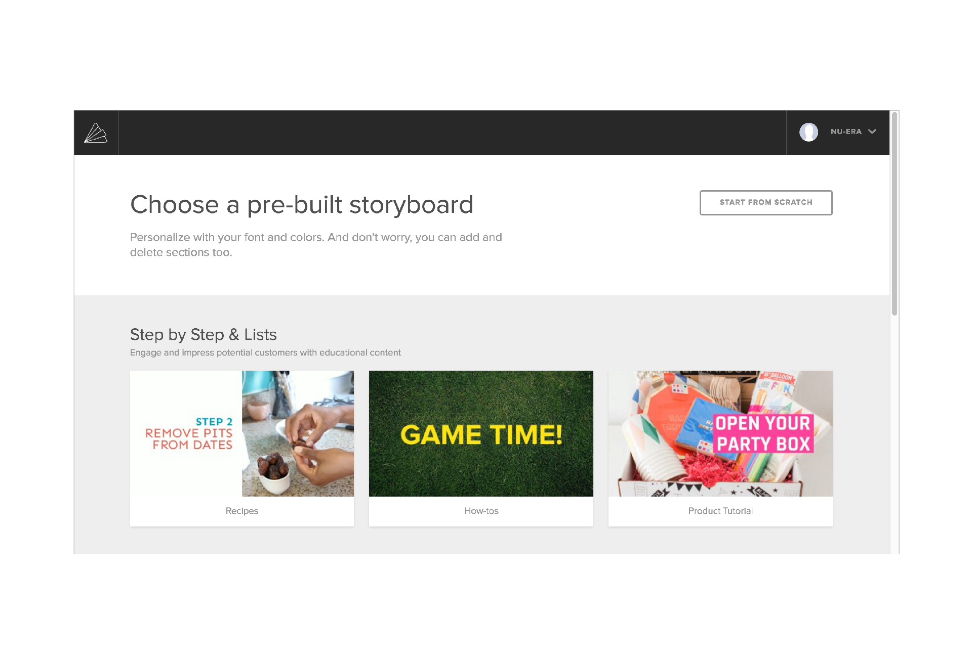 Animoto Storyboard builder