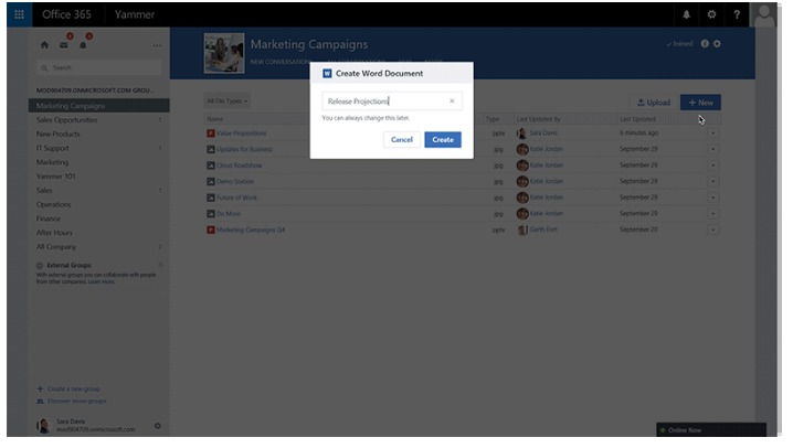 Yammer: Create Office File