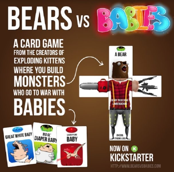 Bears vs Babies pits creatures against battling babies.
