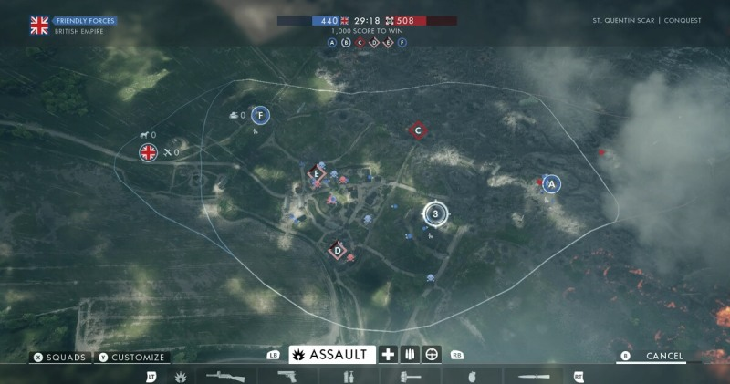 The Mont Saint-Quentin map in Battlefield 1.