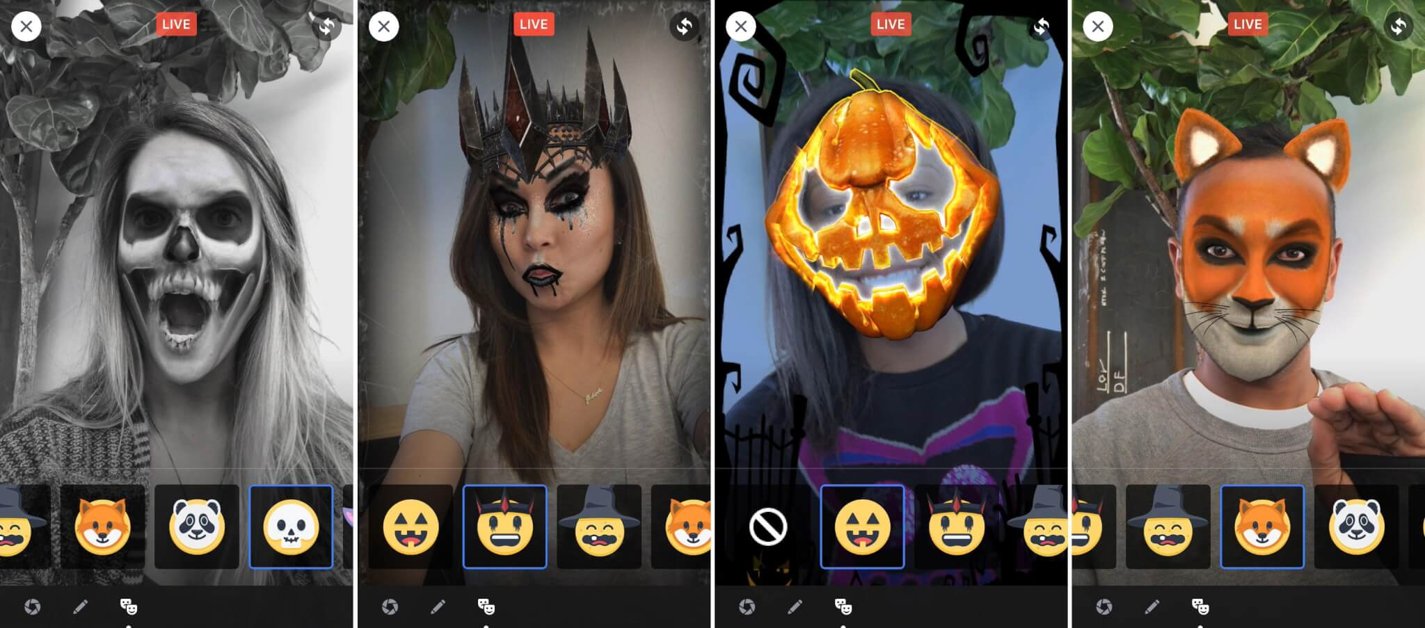 Examples of Snapchat-like lenses for Halloween that can be affixed to Facebook Live broadcasts.