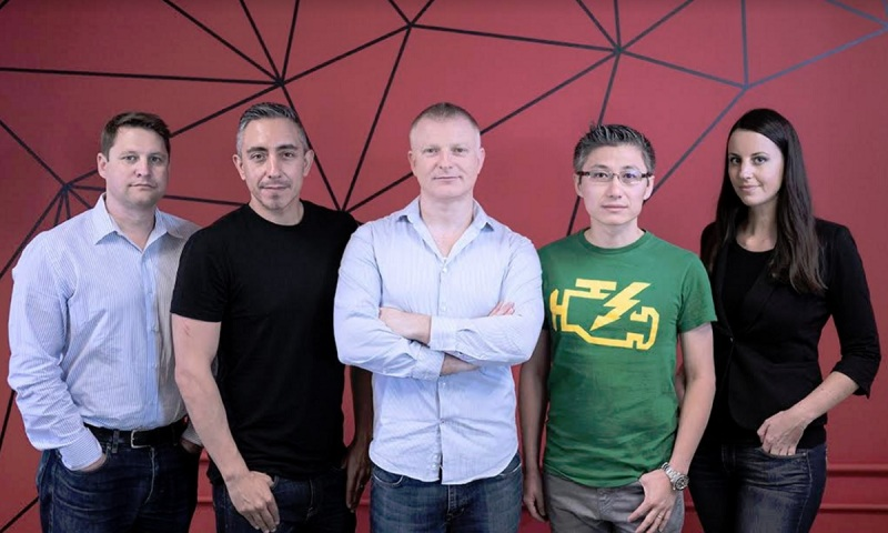 First Contact Entertainment (left to right) Matt Candler, Josh Ochoa, Hess Barber, Wei Qiao, and Jessica Ward.