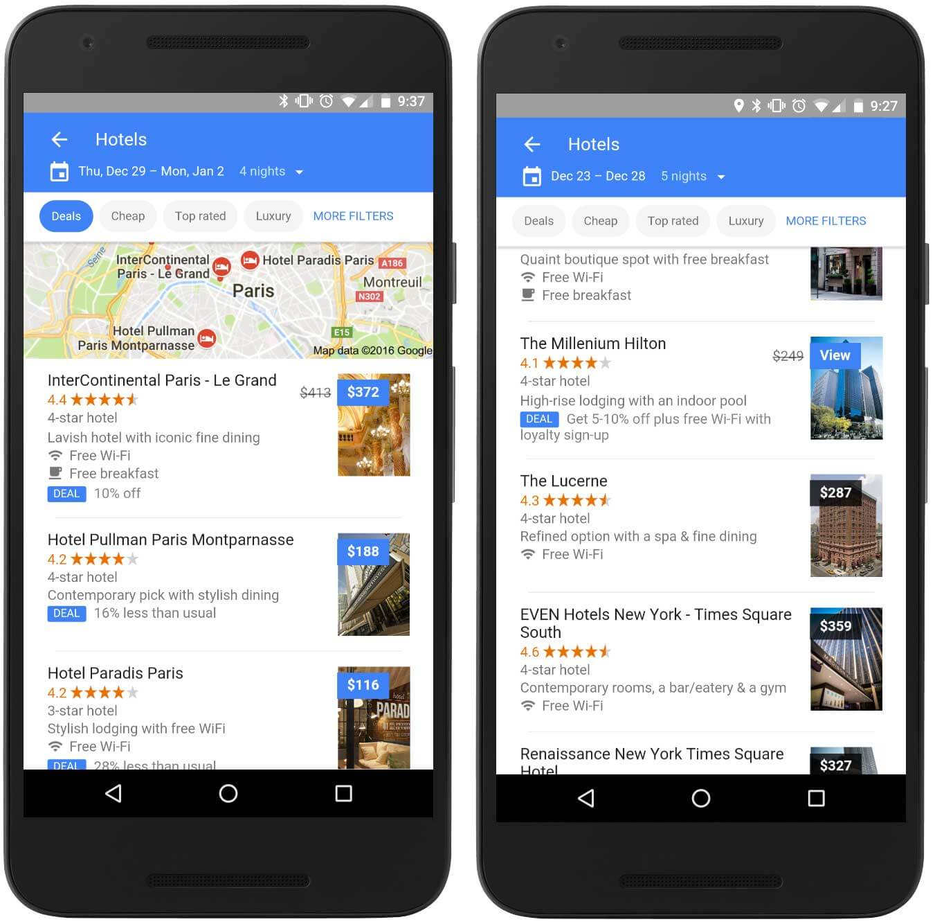 Google now filters hotels by deals and lets you know if there are loyalty member discounts.