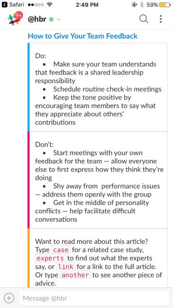 Screenshot of Harvard Business Review bot on Slack
