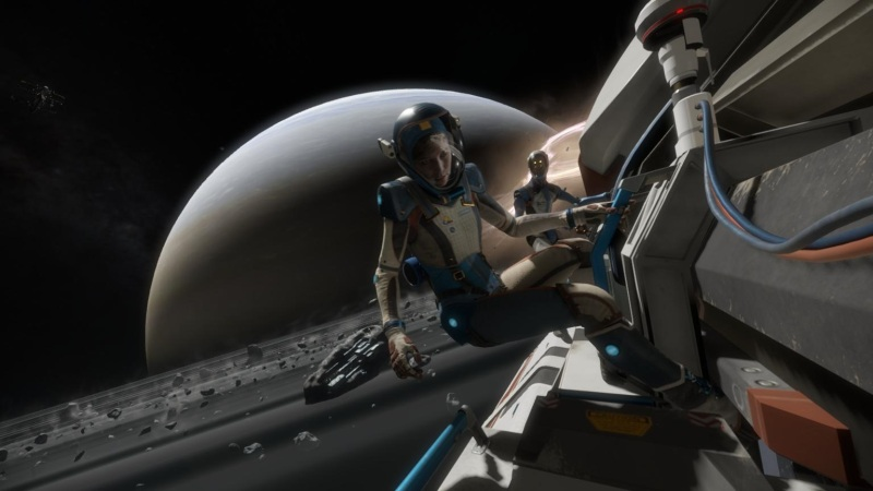 In Lone Echo, I had to rescue my commander, who had caught her foot on a railing.