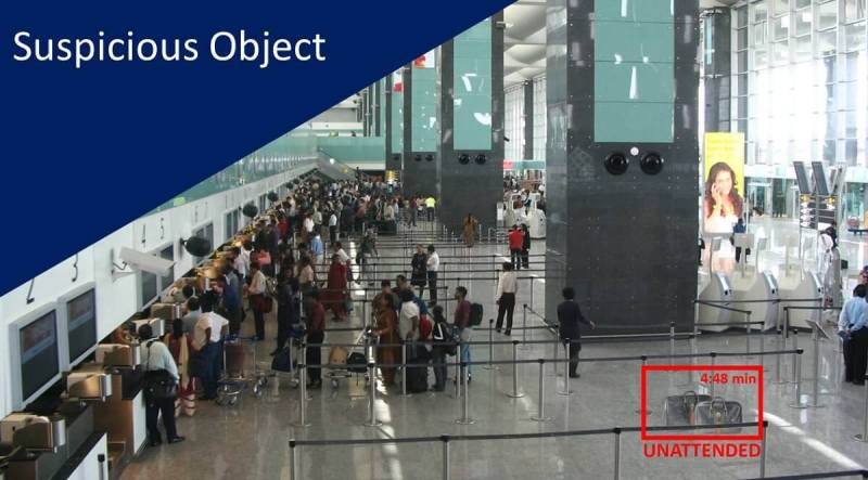 Smart cameras can spot a suspicious package at an airport.
