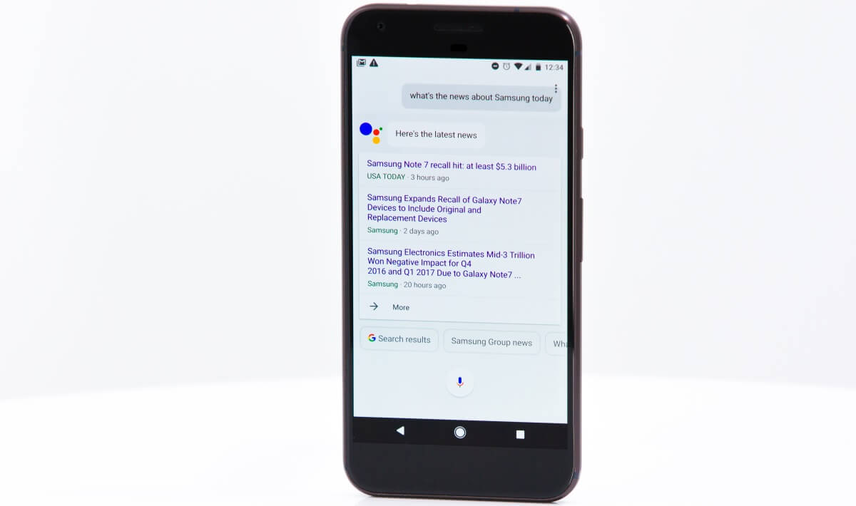 The Google Assistant on the Google Pixel XL.