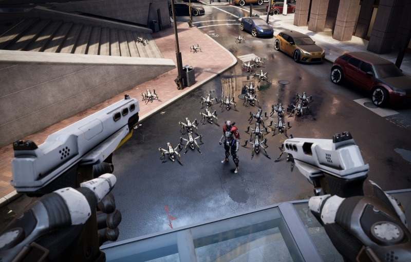 You can go to high points to avoid the robots in Robo Recall.