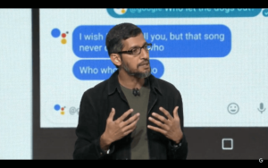 Google CEO Sundar Pichai addresses an audience in San Francisco and more than 300,000 watching on a YouTube livestream on Oct. 4, 2016