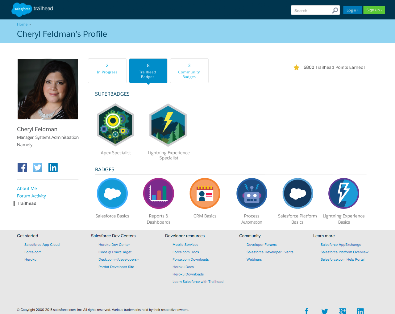 Salesforce's Trailhead program includes a profile featuring superbadges.