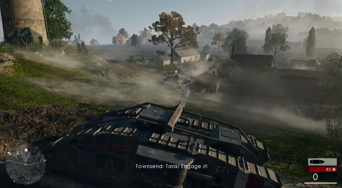 Tank battle in Battlefield 1.