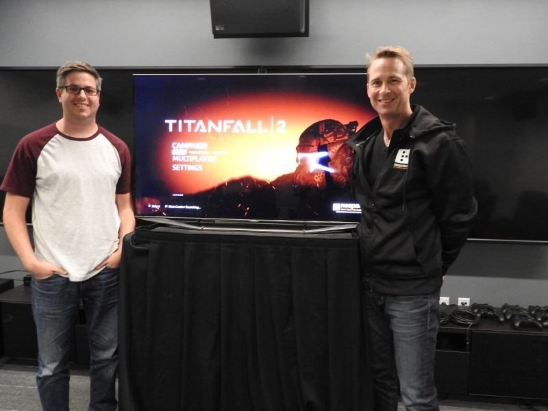 Titanfall 2 developers Dusty Welch (right) and Drew McCoy.