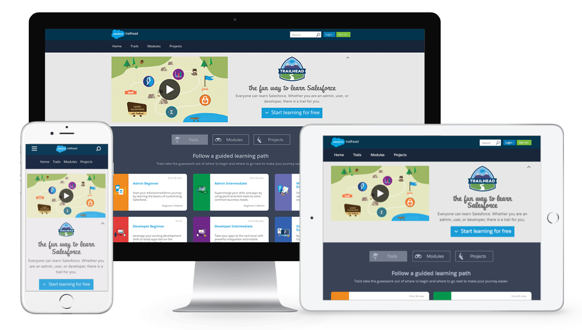 Salesforce Trailhead courses can be taken on desktop, mobile, and tablet devices.