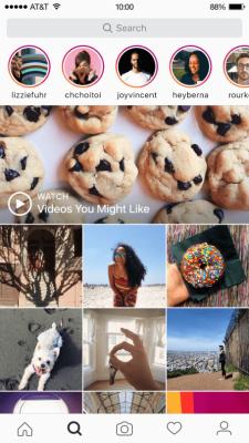 Instagram Stories shown in the app's explore tab