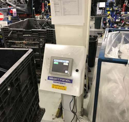 In the Polaris plant, workers can summon the delivery bot.