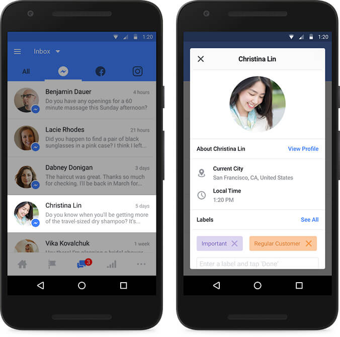 Facebook unified inbox