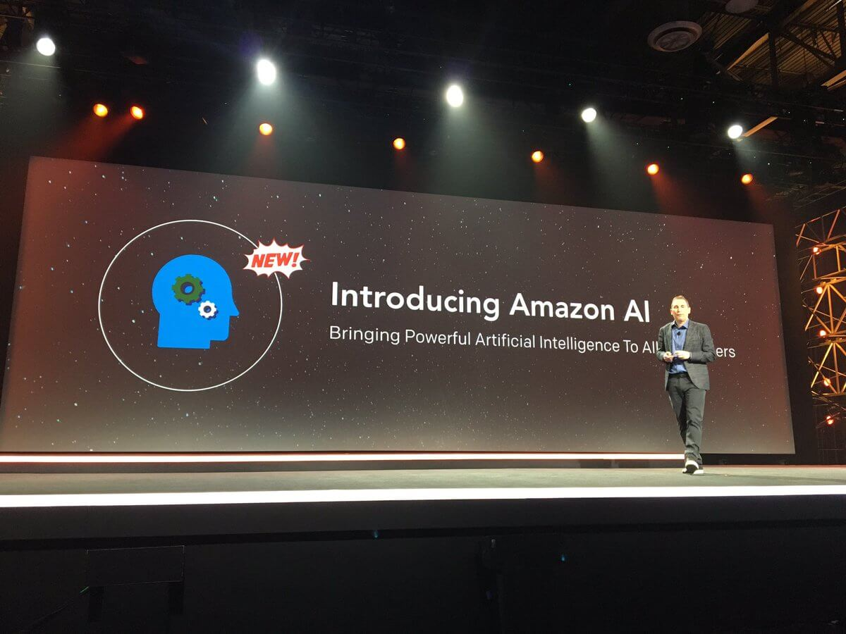 AWS chief executive Andy Jassy unveils Amazon's first AI services at the AWS re:Invent conference in Las Vegas on November 30, 2016.