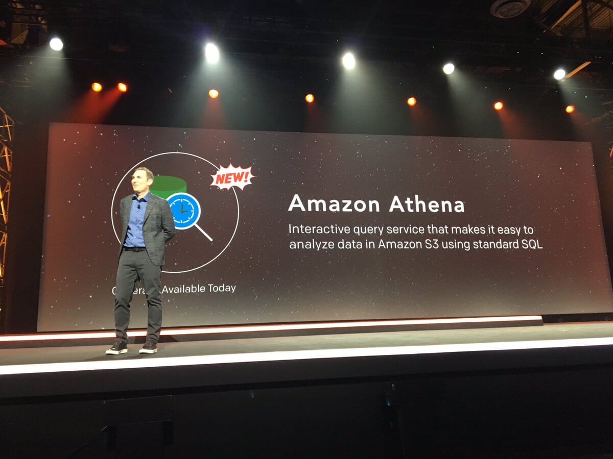 AWS chief executive Andy Jassy introduces Amazon Athena at the AWS re:Invent conference in Las Vegas on November 30, 2016.