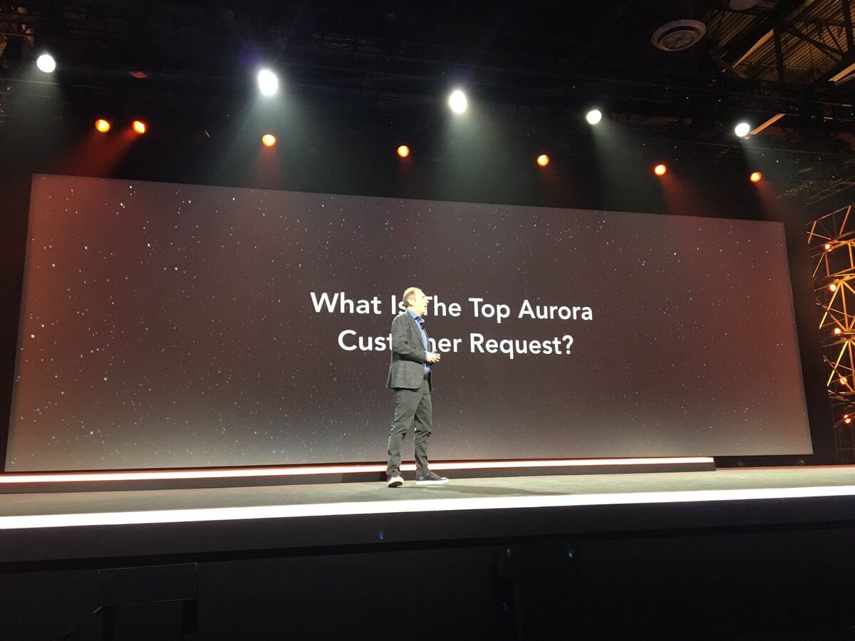 Andy Jassy talks about new capabilities in the Aurora cloud database service.