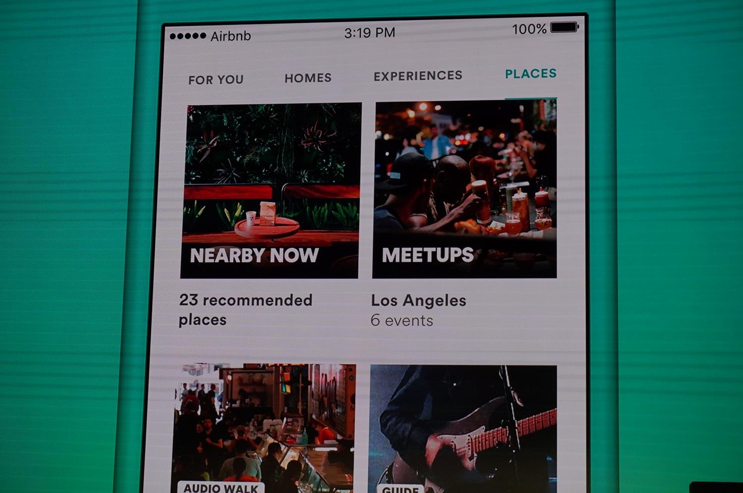 Airbnb's updated app now includes an experience and places section with more ways to discover a city.