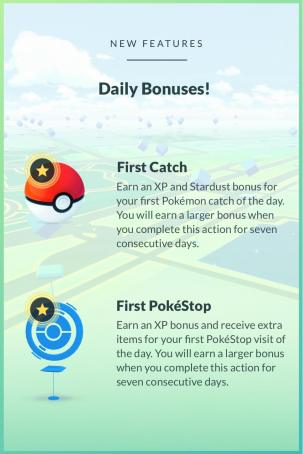 An example of bonuses in Pokémon Go.