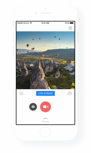 Prisma app with Facebook Live video