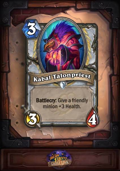 The Kabal Talonpriest is going to be a boon for the Priest -- especially in Arena.