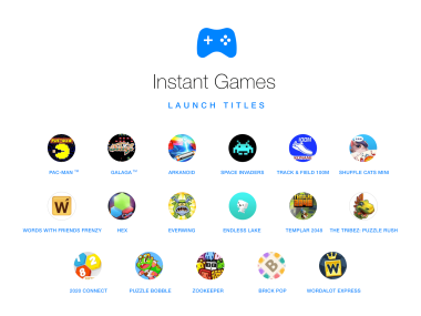 Facebook Instant Games launch titles.