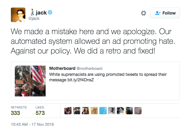 Jack Dorsey tweet apologizing for white supremacist ads appearing on Twitter.