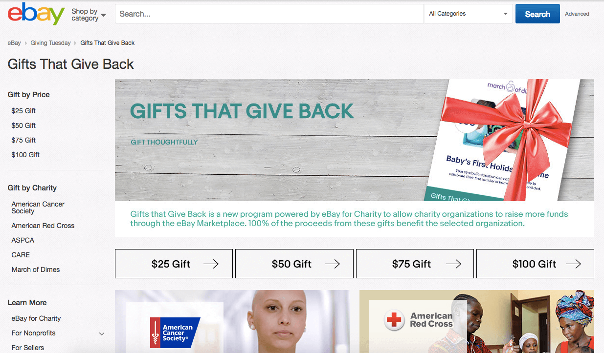 eBay Gifts That Give Back website