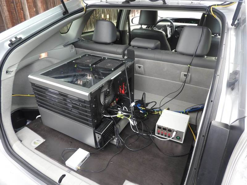 Nvidia-based desktop computer in the trunk of AImotive's car.
