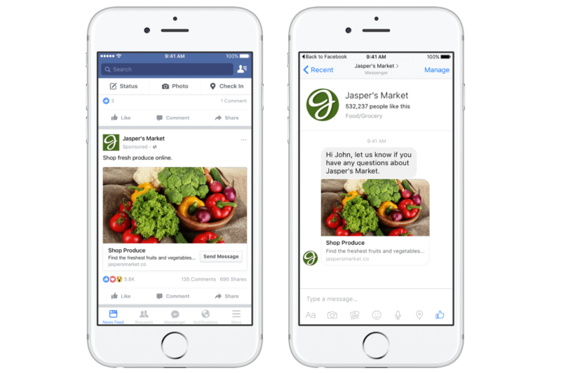 When a user taps or clicks a Facebook Messenger News Feed ad, it takes them out of the Facebook app and into the Messenger app to speak with a bot