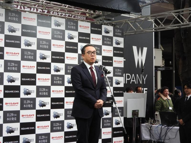 Yosuke Matsuda, CEO of Square Enix, at the Final Fantasy XV launch.