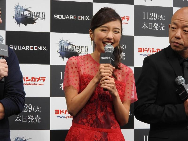 A Japanese actress and comedians spoke at the Final Fantasy XV launch.