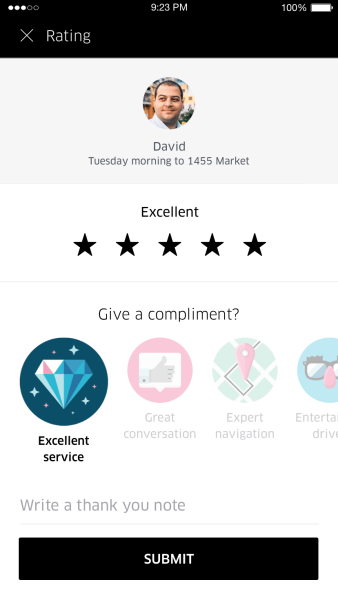 Providing compliments to drivers in Uber app.